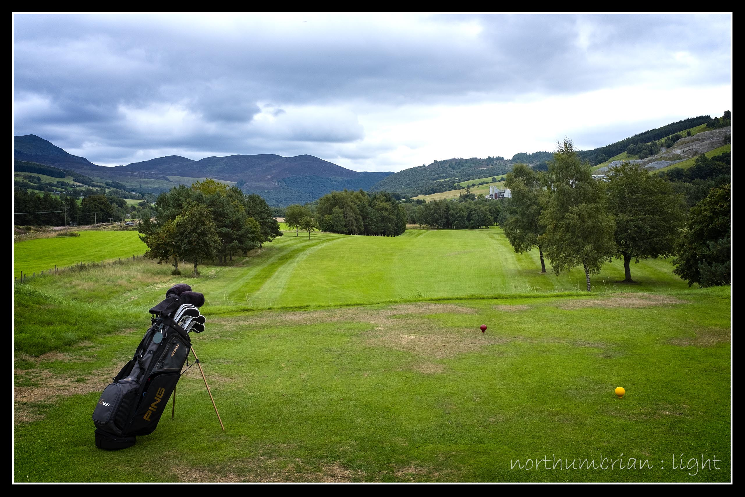 ... the view from the elevated first tee, Blair Atholl.
